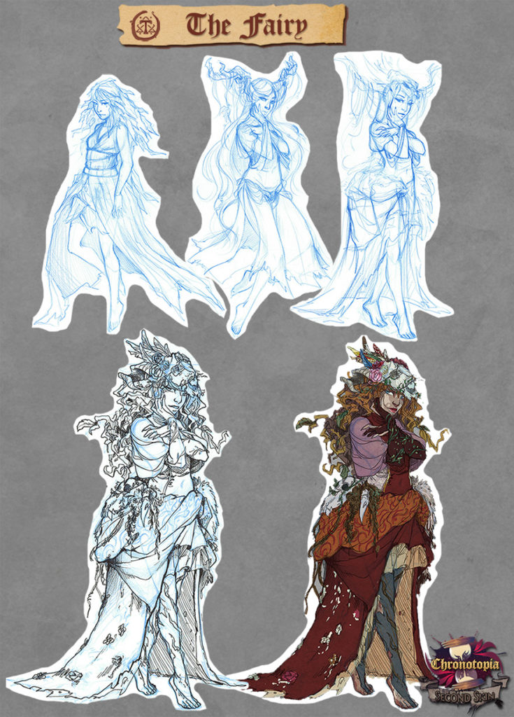 The Fairy's concept art, by Anako. We rather quickly decided on this design.