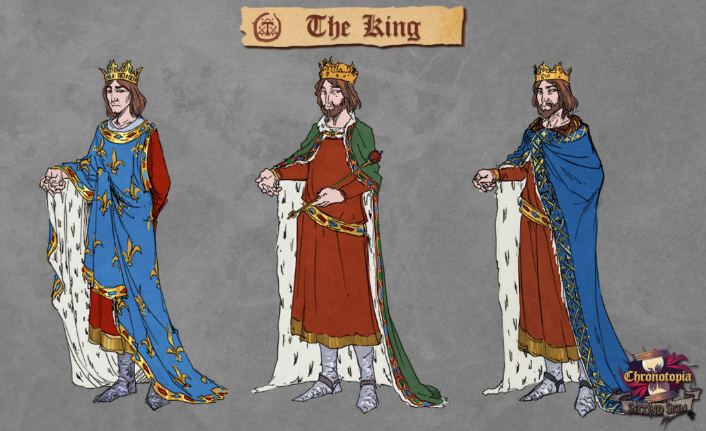 The King's concept art, by Anako. N°1 ended up being his 'young' design & N°3 his 'old' design.